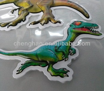 custom pvc/foil dinosaur embossed stickers for kids' day promotion