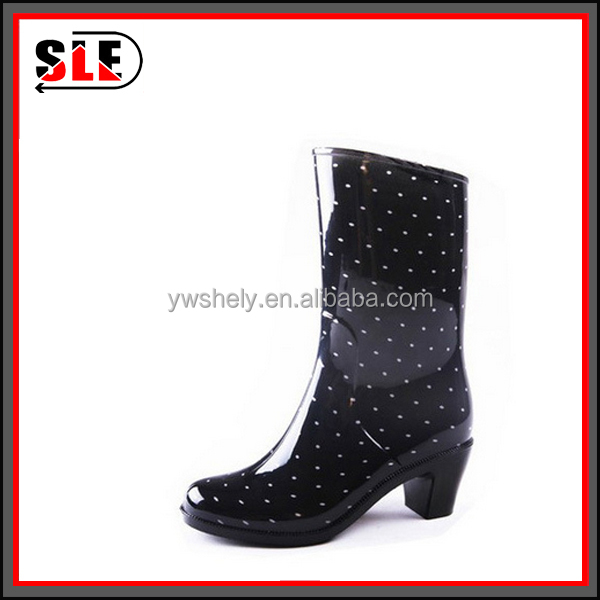 black with printing high heel sexy lady rain boots