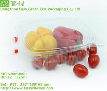 Disposable Clear PET 32oz Clamshell food plastic container