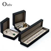 Oirlv OEM Black Leatherette Paper Gift Box Ring Bracelet Bangle Necklace Watch Plastic Packaging Boxes For Jewelry