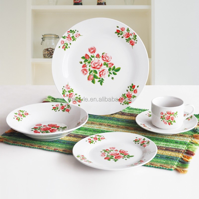 20pcs China Rose Porcelain Dinnerware, White Flower Tableware