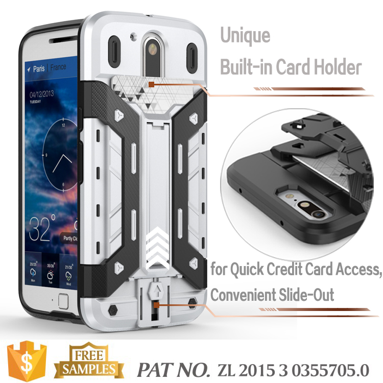 Bumper kick stand credit card holder back cover for moto g4 plus cover