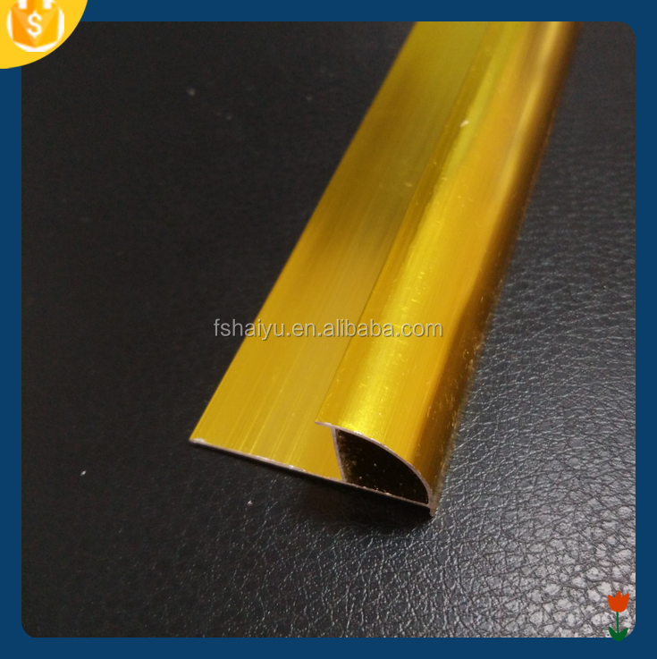 Gold aluminium round edge metal tile corner trim
