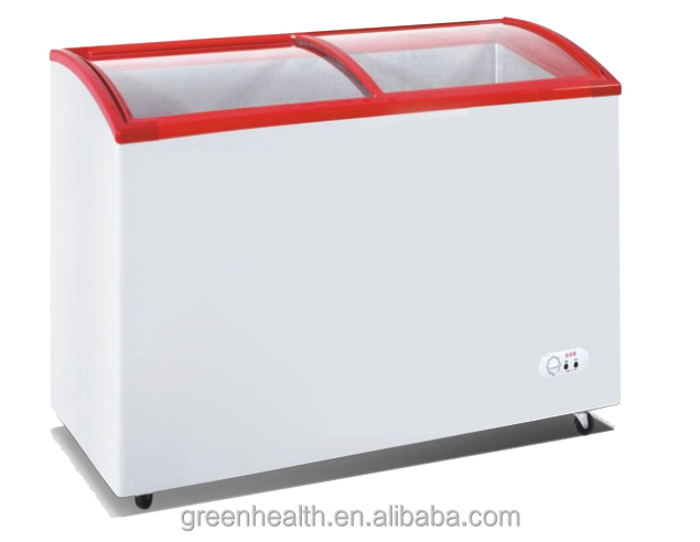 Arced Glass Chest Freezer for Ice Cream/Popsicles/Frozen Food Used Top Open Sliding Glass Doors Deep Freezer Price
