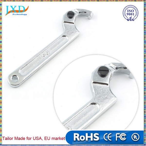 19-51mm Chrome Vanadium Adjustable Hook Wrench C Spanner Tool