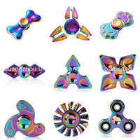 2017 Newest Rainbow Titanium Alloy Pocket toys Tri Hand Spinner Fingertips Spiral Fingers Gyro Fidget Spinner toy