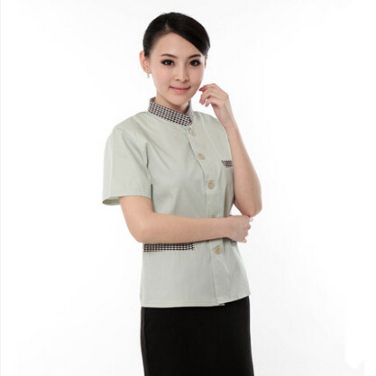 custom perfect fit chinese restaurant nice design hotel housekeeping uniform in guangzhou