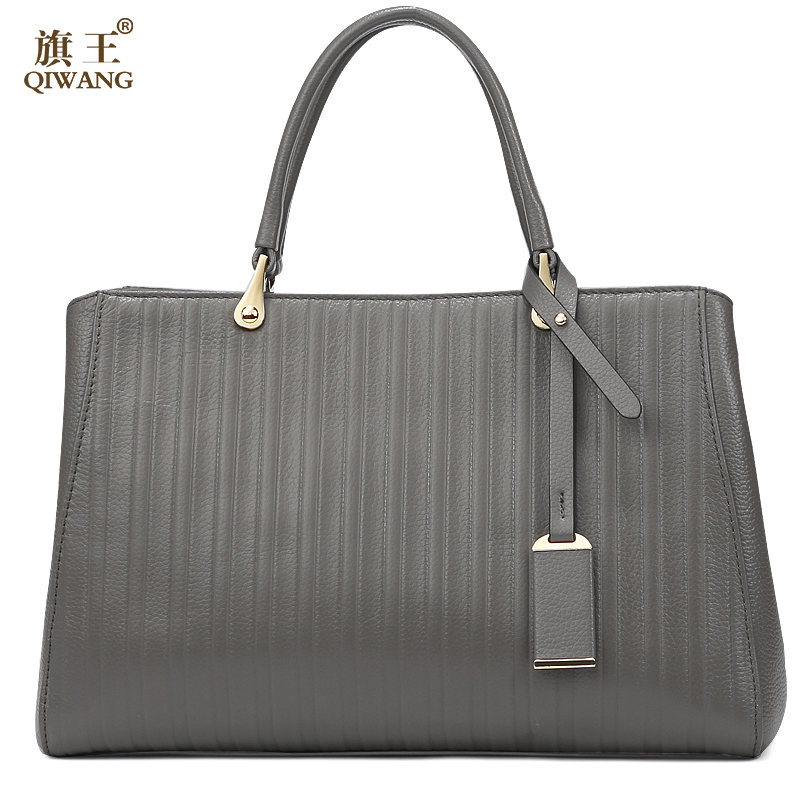 QIWANG Women Loved Gray Genuine Leather Women Bag Brand Design Famous Striped Large <strong>Tote</strong> Bag Purse for Women Casual Handbag