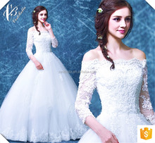 New cheap long sleeve lace bridal 2017 wedding dress ball gown