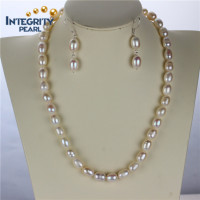 9mm A grade rice shape cultured pearl necklace set, 925 silver natural pearl set