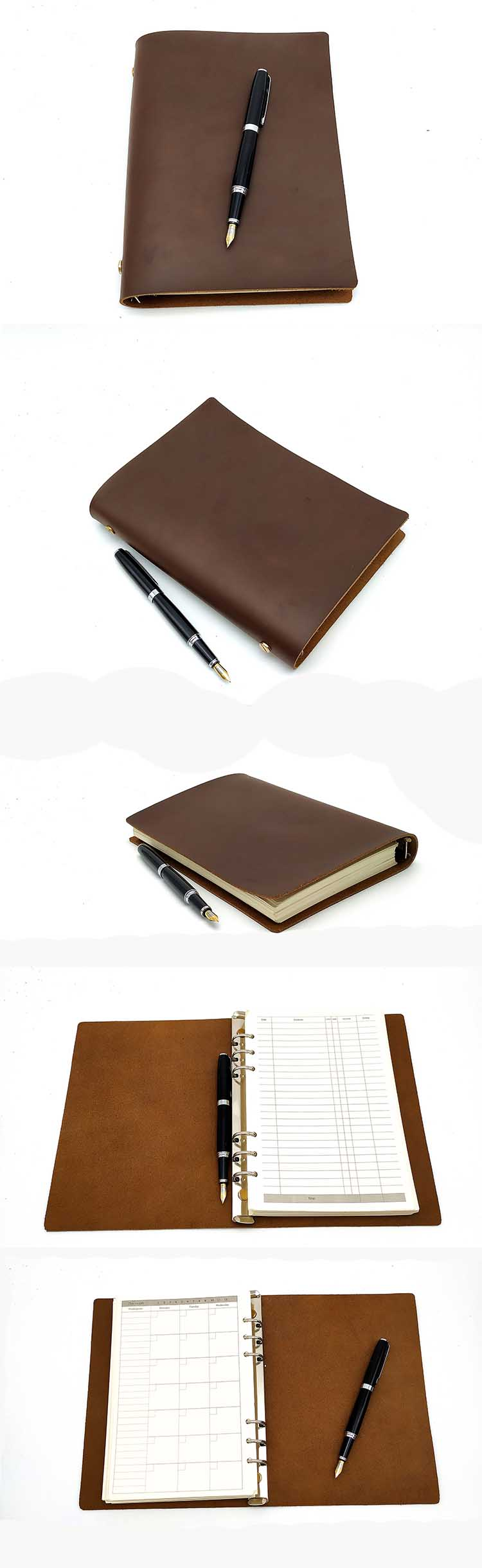 A6 Crazy Horse Leather Diary Notebook Crazy Horse Leather Cover Notebook New Promotion Travelers Journal Notebook