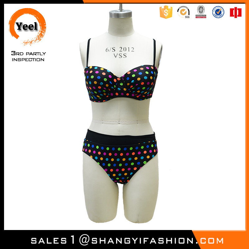 YEEL spring and autumn korean style quick dry wave point foto donne in mini bikini
