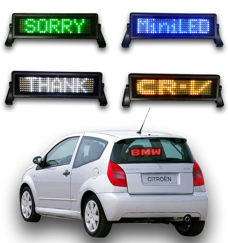 12 Voltage power 8x48 dot led sign with scrolling message function, car led sign by Bluetooth/Remote/USB coummunication control