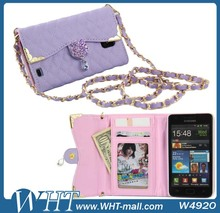 For Samsung Galaxy S2 Wallet Case Cover with Card Holder,Luxury Diamond Purse Case with Long Chain