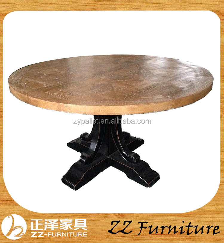 Antique solid wood furniture round folding dining table