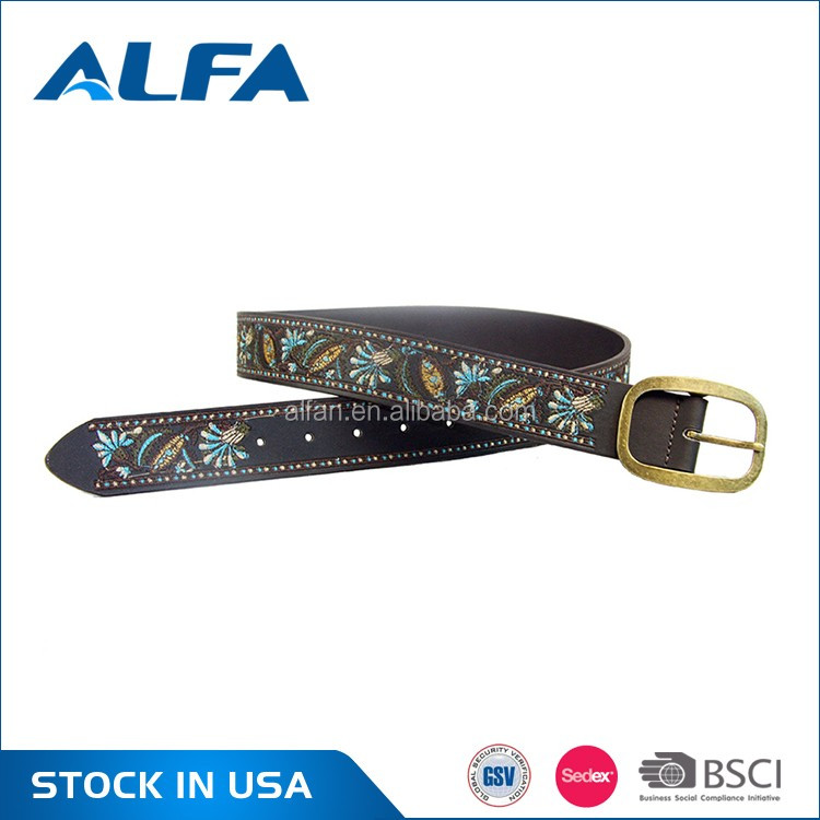 Alfa Hot Sale Women Fashion Best Split Leather PU Coating Embroidered Leather Belt