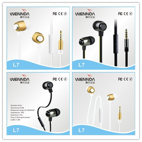 3.5mm stereo metal earbuds high quality metal earphone,mobile phone earphone,earphone with mic