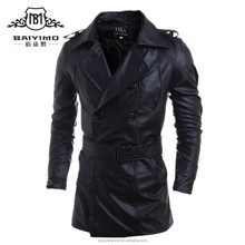 2017 Long PU Fit Leather Trench Coat China Factory Custom Jacket for men