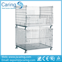 heavy duty rigid iron industrial wire mesh pallet container storage bins