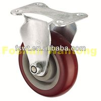 Medium Duty Fixed PU push cart caster wheels For Furniture, Hardware, Trolley