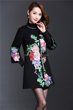 2016 autumn chinese traditional style coat printed overcoat Stylish Ladies Trench Coat