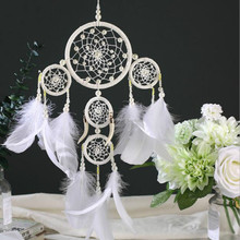 Factory supplies Five-rings Green Dream Catcher Handmade Dreamcatcher with Feather Wall Hanging