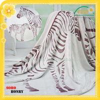 Wholesale Back Printed Zebra Pattern Blankets Thick Soft