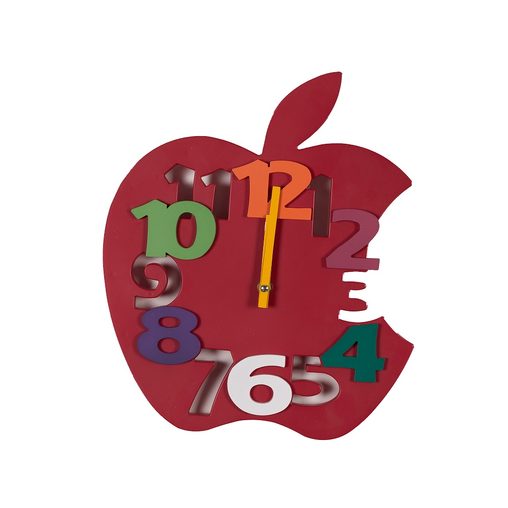 Funny apple shape plastic wall clock with colorful 3d numbers
