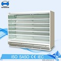 Dairy Glass Wall Display Refrigerated Showcase , Fruit Display Counter