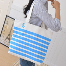 eco handmade cotton bags wholesale stripe with printing shopping bag canvas tote bag cotton canvas