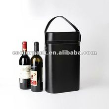 Luxury black leather for double wine bottle box packaging