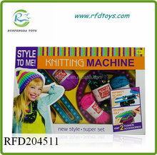 Fashion girls rainbow hat knitting machine toys for wholesale