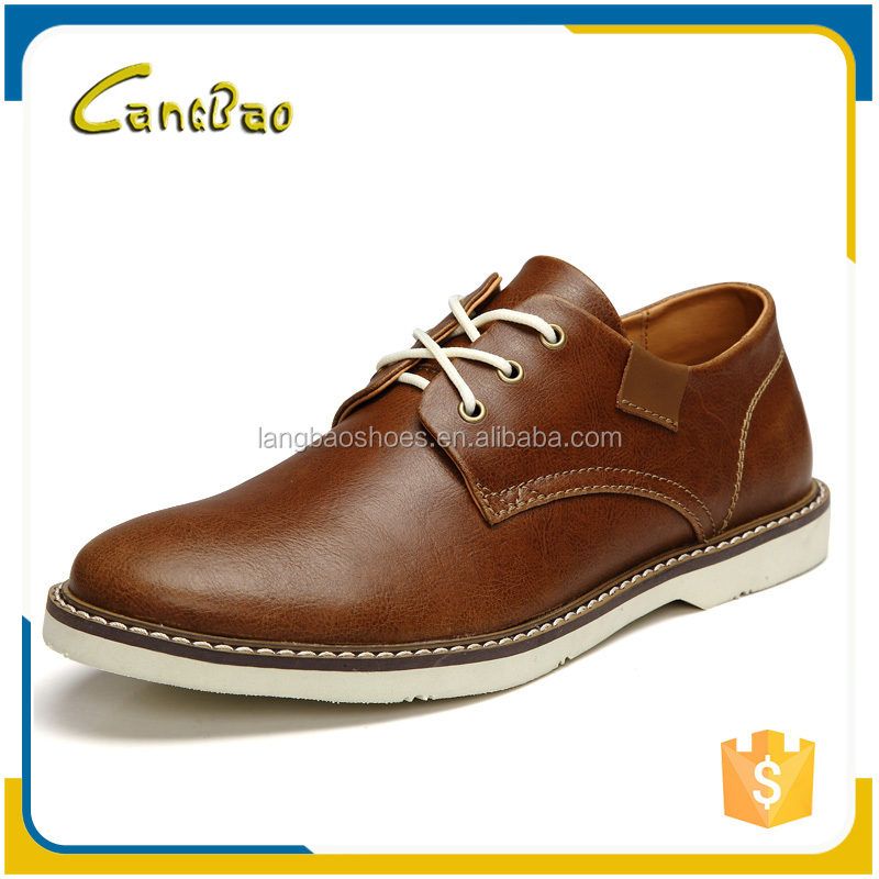 high quality brown waterproof leather shoes for men