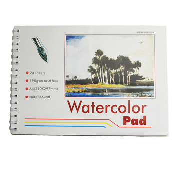 Customized acid free watercolor 24 sheets 190gsm A4 painting pad.