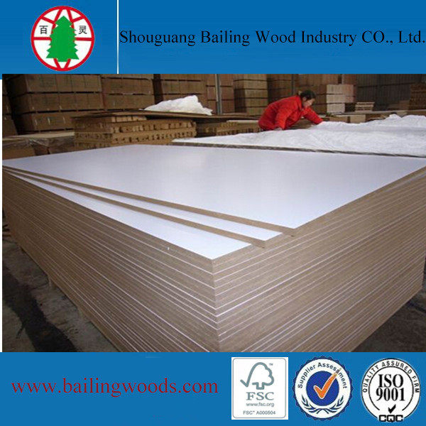 shandong white melaminelaminated mdf,mdf wood panel melaminated