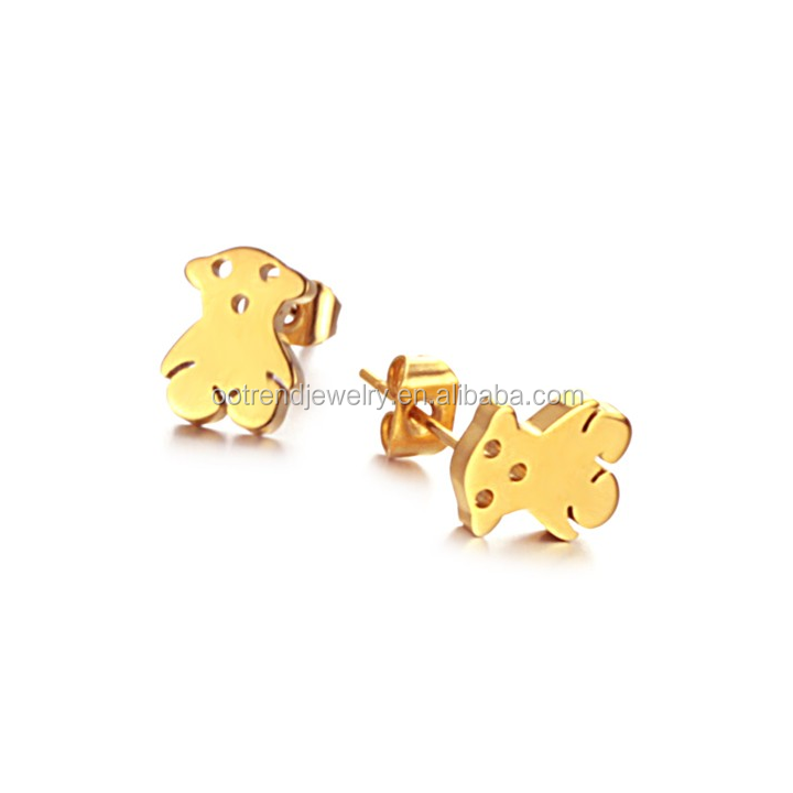 Hot selling free of allergies ,surgical stainless steel 316L Dog ,bear ,little tiny heart children earring