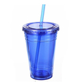 Wholesale 16oz Double Wall Plastic clear Cold Tumbler Cup with Straw