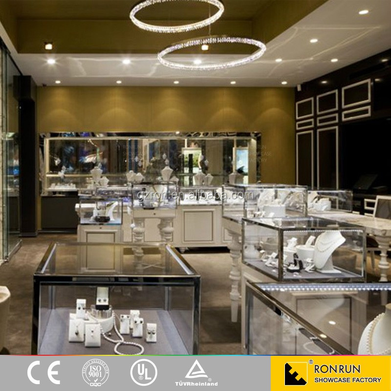 Modern jewelry store interior decoration commercial display furniture used jewelry display counter for sales