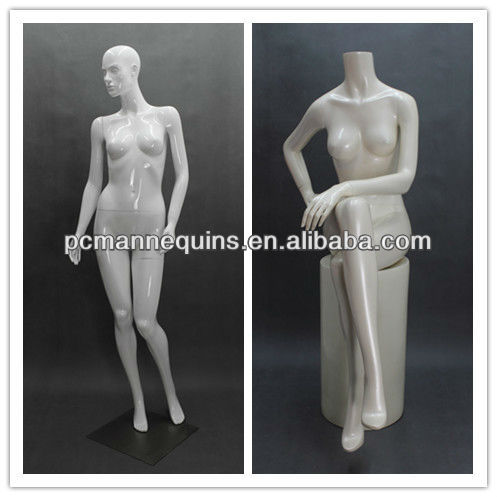 2013 cheap full body female mannequin sale with glossy white and standing sitting pose