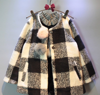 New Vintage Winter O-neck Children Plaid Girl Clothing Woolen Coats Cute Fur Balls Thicken Cotton Kids Outwear Clothes