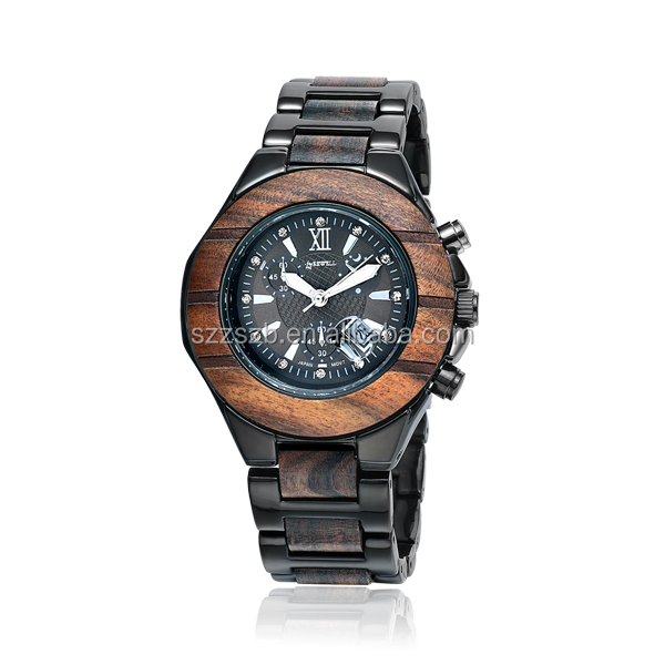 OEM/ODM Wooden and Stainless Steel Watch Small Order Quantity Watch