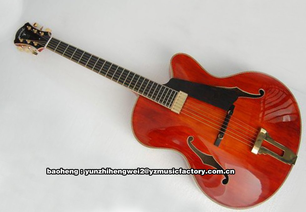 fully handmade solid wood archtop electric guitar