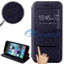 Fashionable Flip Leather Case with Call Display ID & Holder for iPhone 6 4.7""