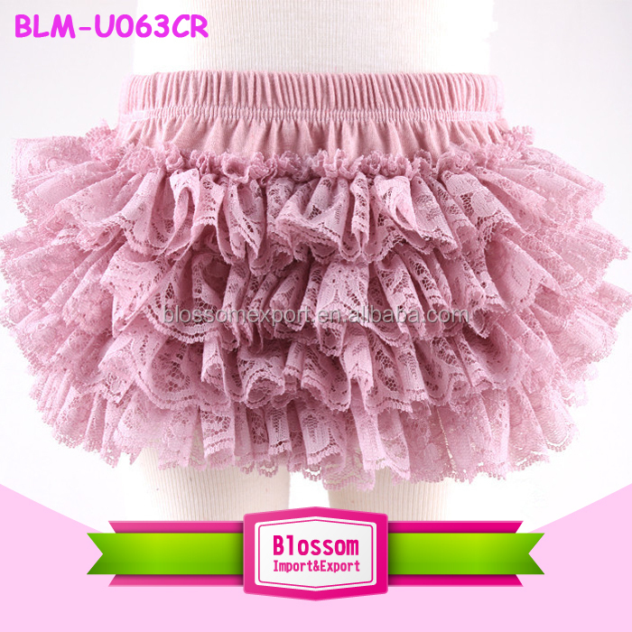 Light Pink Four Layer Ruffle Lace Baby Girl Bloomers Adorable Diaper Cover Lace Bloomers