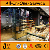 Retail shop free standing bakery display rack showcase, bakery shop furniture with food display counter