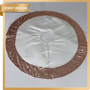 CTS031A Jenny bridal 60 inch round sequin trim wholesale christmas tree skirt