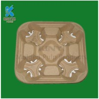 Factory wholesale Environmental Bagasse pulp coffee cup tray