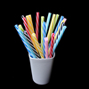 BPA-Free Reusable Straw,Plastic Thick Drinking Straws,Mason Jar Straws Mix Color Small Stripe
