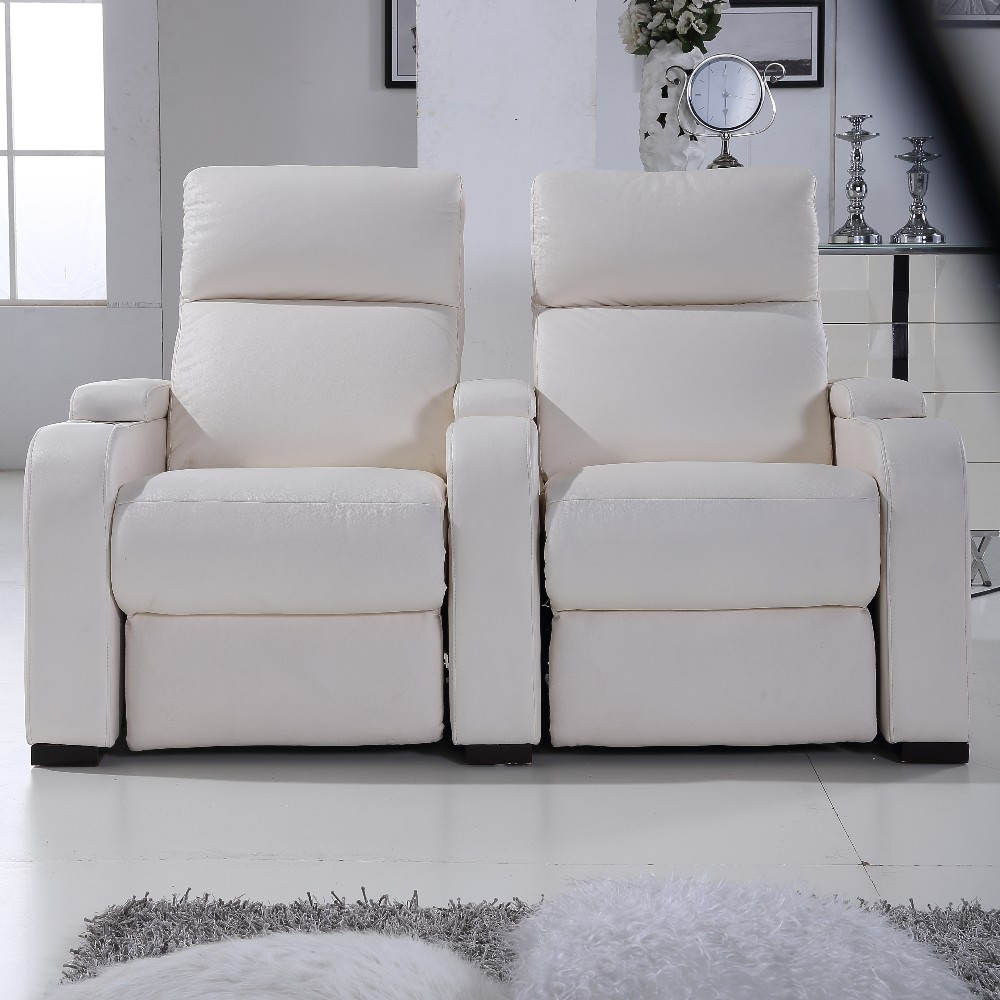 Row Of 2 Seats Electric Leather Sofa Recliner For Home Cinema With Cup Holder