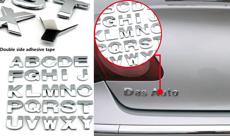 3D chrome letters & numbers car decal car body sticker